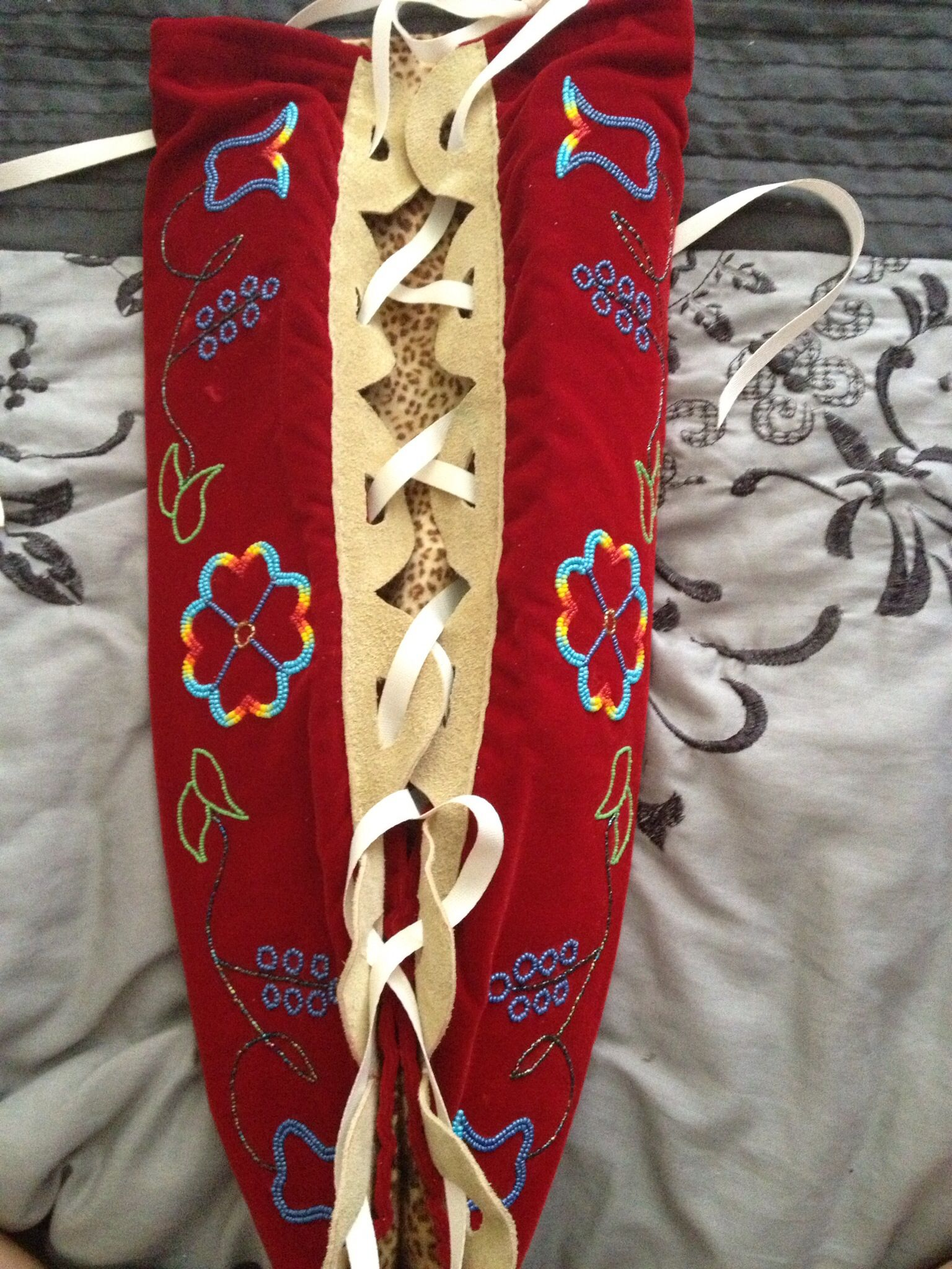 Partially Beaded Mossbag On Red Velvet Native American Baby Native American Dress Native American Crafts