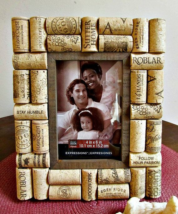 Rustic Brown Wine Cork Picture Frame - 4\