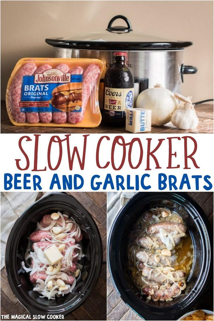 Slow Cooker Beer and Garlic Brats - The Magical Slow Cooker