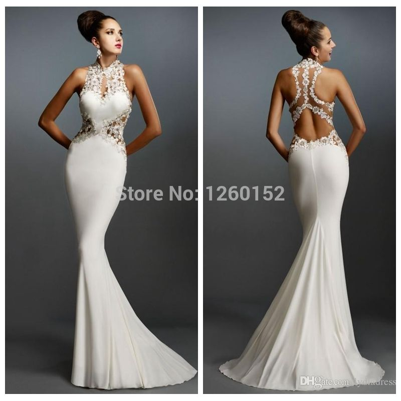 2015 Latest Design Sheer Sexy Back Mermaid White Evening Dresses ...