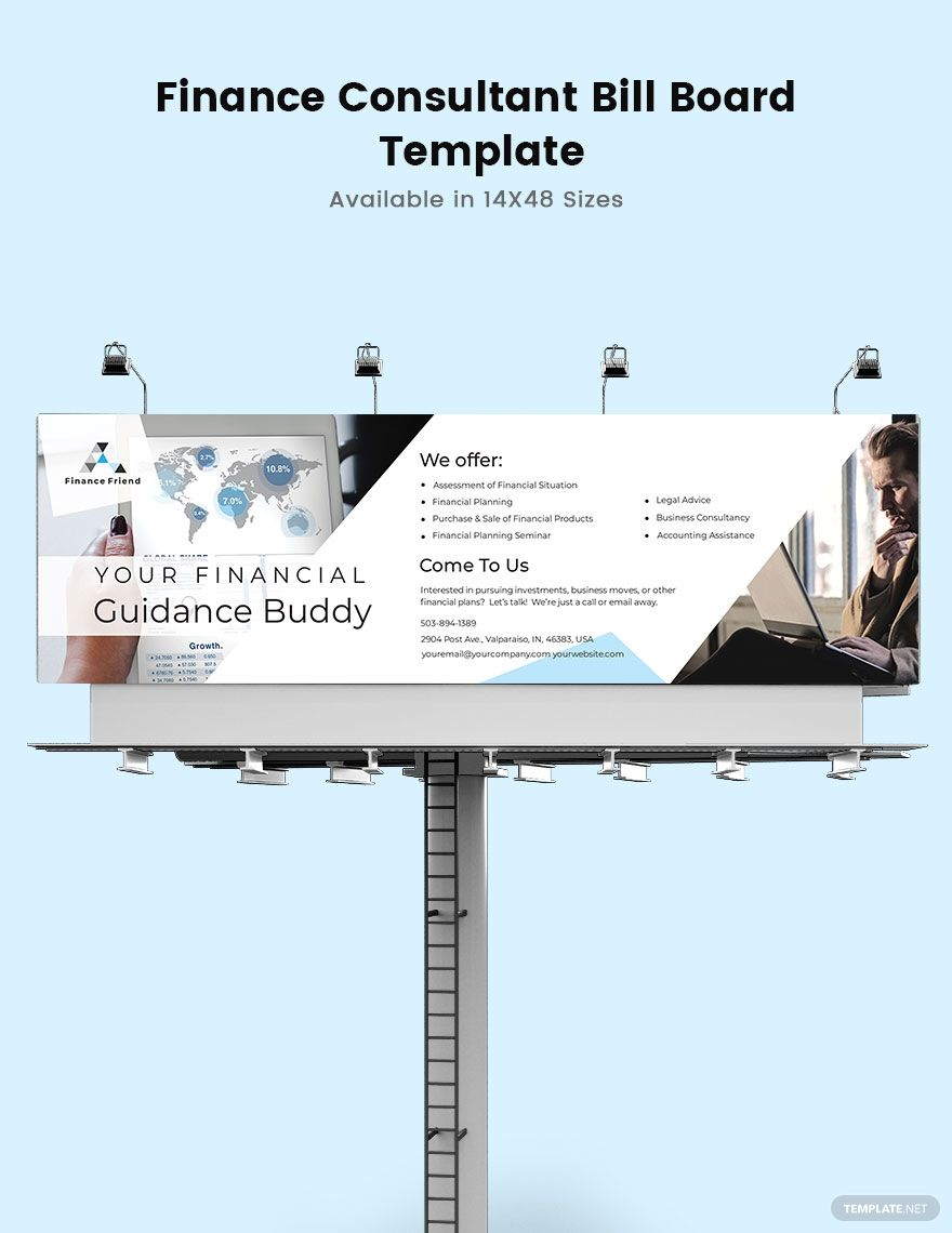 Finance Consultant Billboard Template Free Psd Illustrator Indesign Apple Pages Template Net Billboard Templates Finance