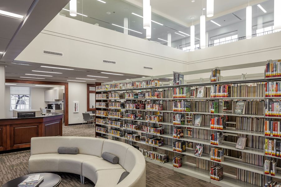 The Argenta Branch Library for William F. Laman Public Library, original Post Office building designed by Charles Thompson, renovation for library designed by Allison Architects.