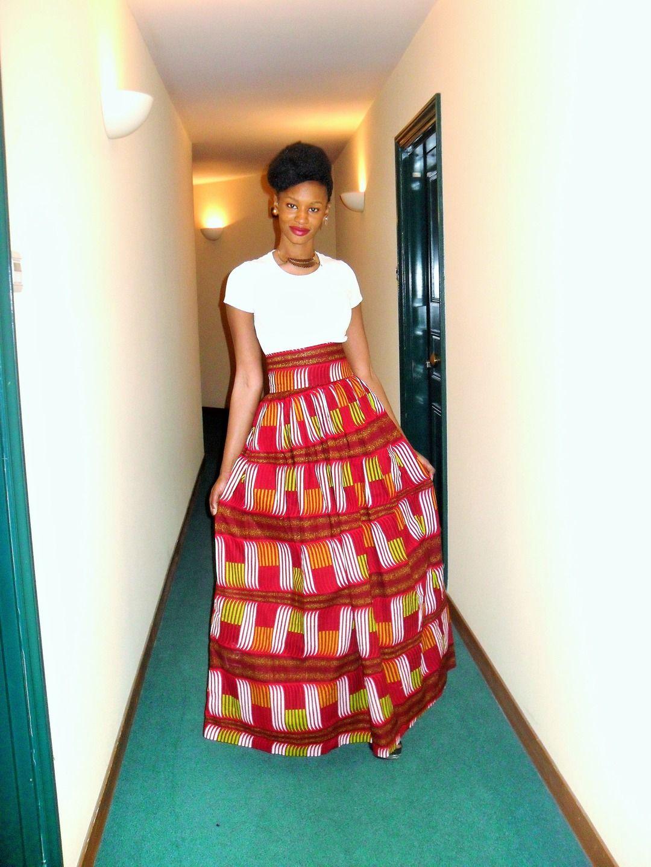Jupe longue taille haute, froncée en wax (étoffe africaine)   Jupe par  pagnshopea b6fcb070e792