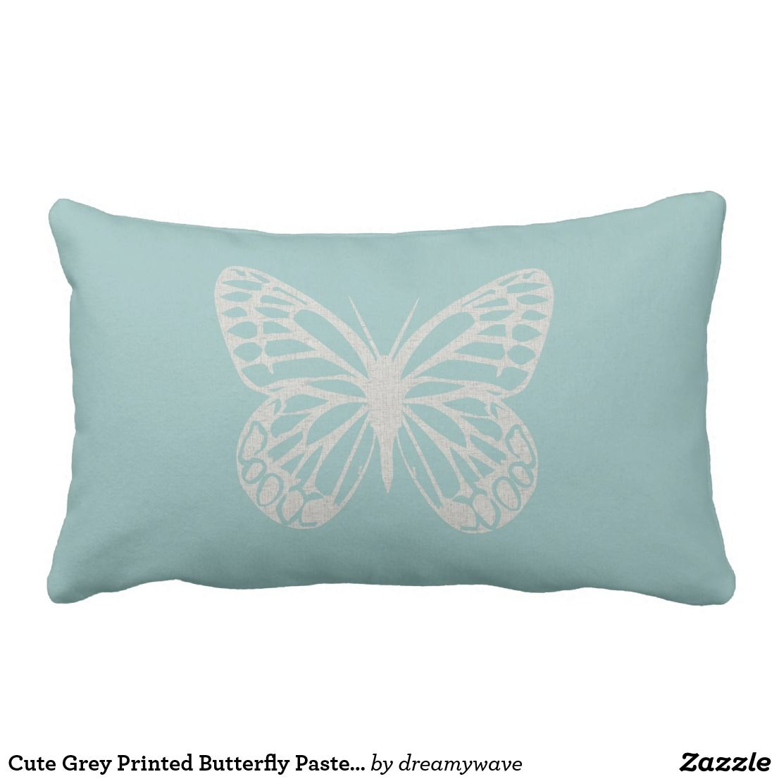 Cute Grey Printed Butterfly Pastel Mint Pillow