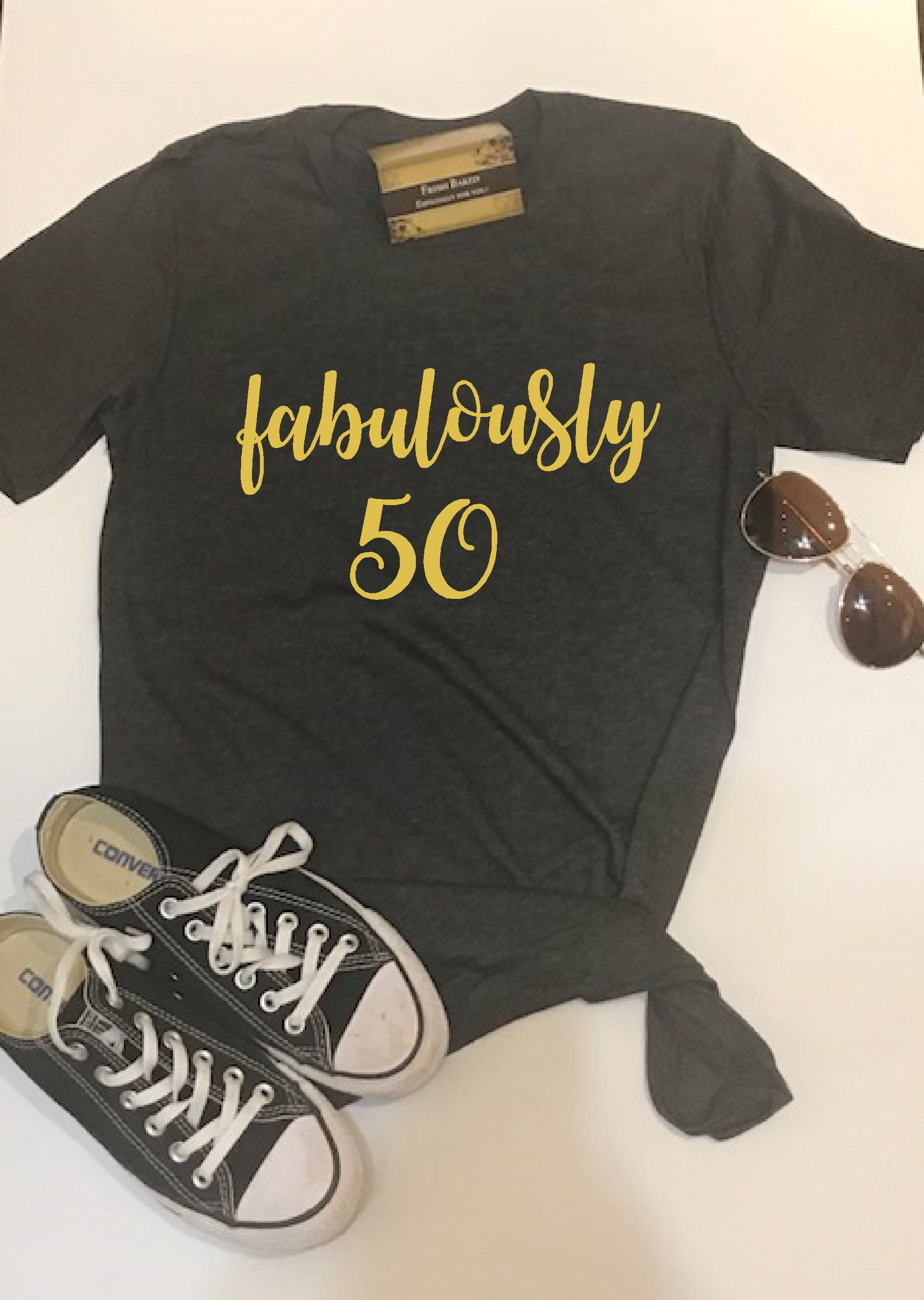Custom Glitter Womens Fabulously 50 Glam 50th Birthday Shirt