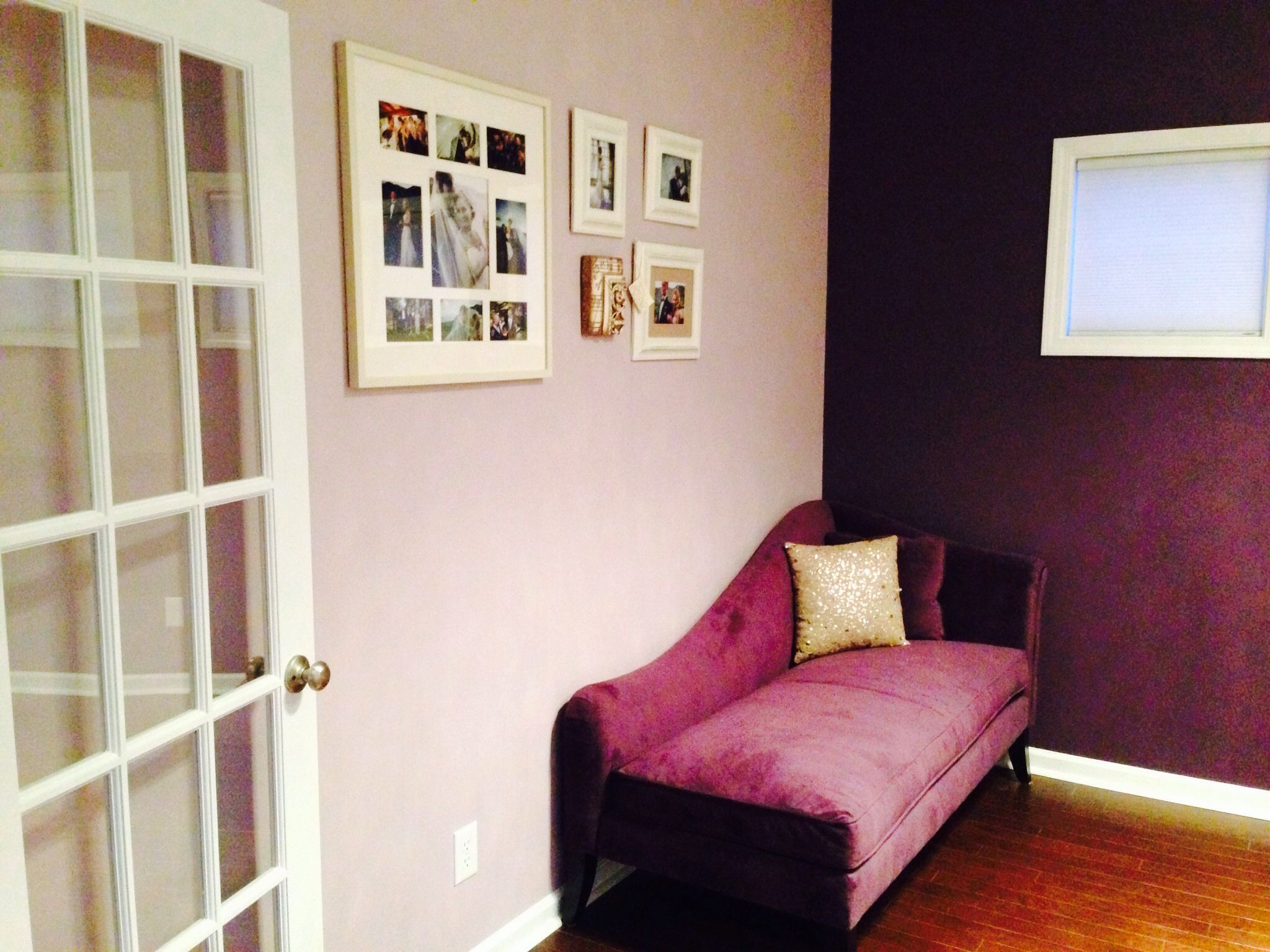 Purple chaise, French doors