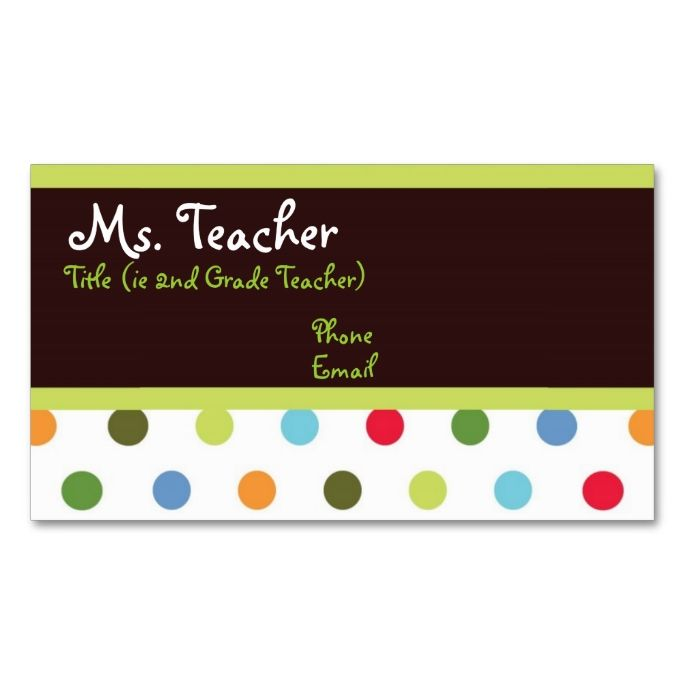 Hip dots teacher business card pinterest teacher business cards hip dots teacher business card this great business card design is available for customization all text style colors sizes can be modified to fit your cheaphphosting Choice Image