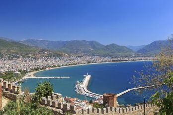 Beautiful view of city Alanya in Turkey. Red tower