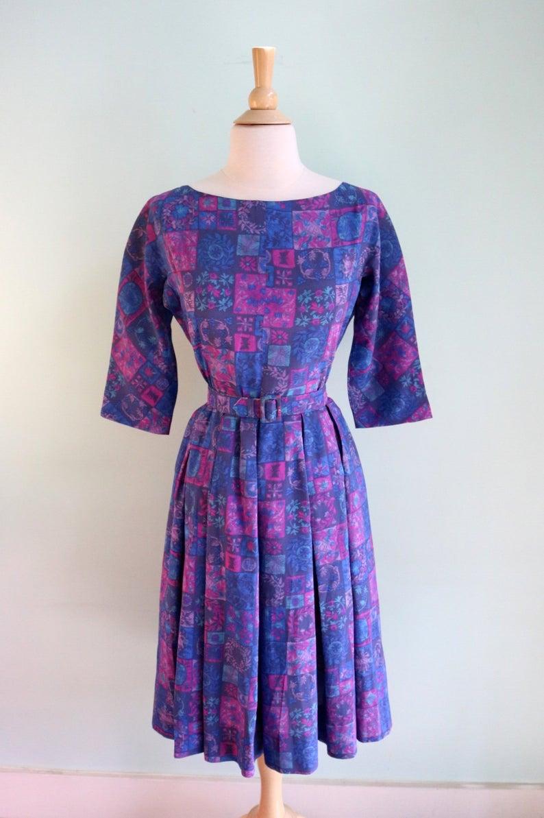 Vintage 1960 S Purple Patchwork Print Dress Size Small Etsy Vintage Dresses Online Print Dress Matching Fabrics [ 1193 x 794 Pixel ]