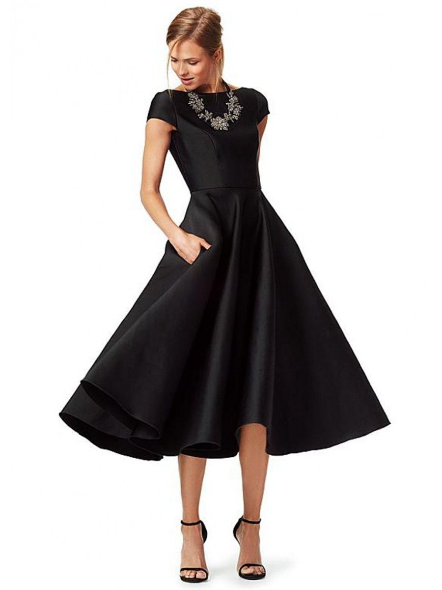 Aline cap sleeves bateau tea length black prom formal evening