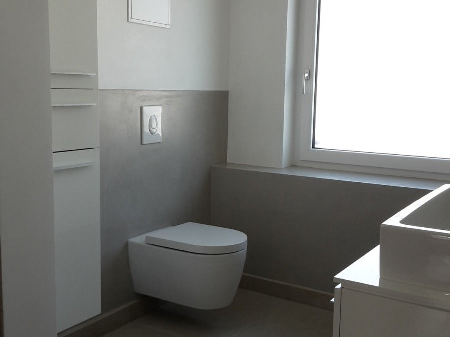 Beton cire badgestaltung renovieren in bathtub bathroom