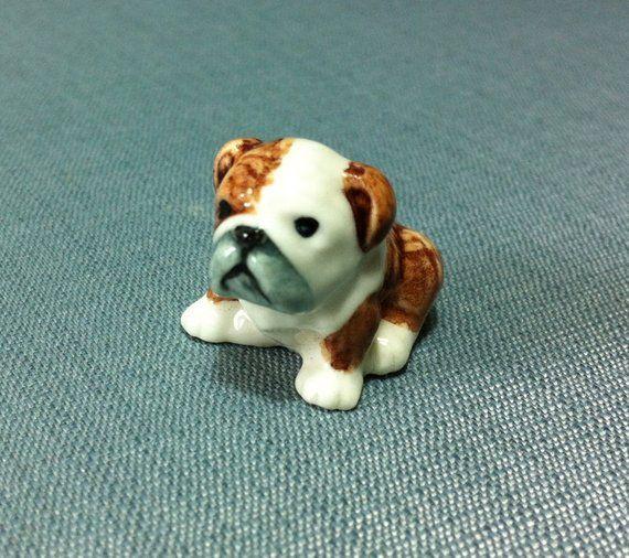 Miniature Ceramic Dog Bulldog Pet Baby Animal Cute Little Tiny Small Brown White Figurine Statue Dec Miniature Bulldog Toy Bulldog Bulldog Gifts