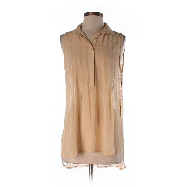 Pre-owned Band of Gypsies Sleeveless Blouse Size 8: Tan Women's Tops (53 BRL) ❤ liked on Polyvore featuring tops, blouses, tan, tan top, sleeveless blouse, sleeveless tops, beige top and band of gypsies