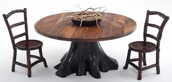 Rustic Furniture Black Walnut Slab With Root Base  Dining Room Entrancing Tree Trunk Dining Room Table Decorating Design