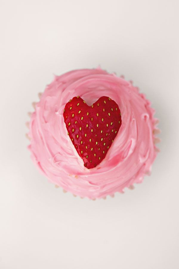 cupcake with strawberry heart