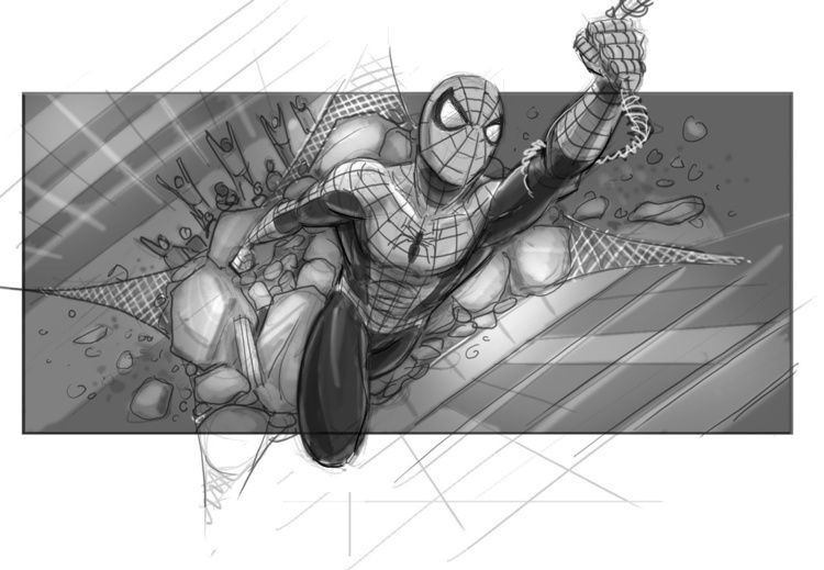 Concept Art For Sam Raimi S Spider Man 4 Features Spidey Fighting Mysterio And The Vulture Spiderman Storyboard Spider Man Trilogy