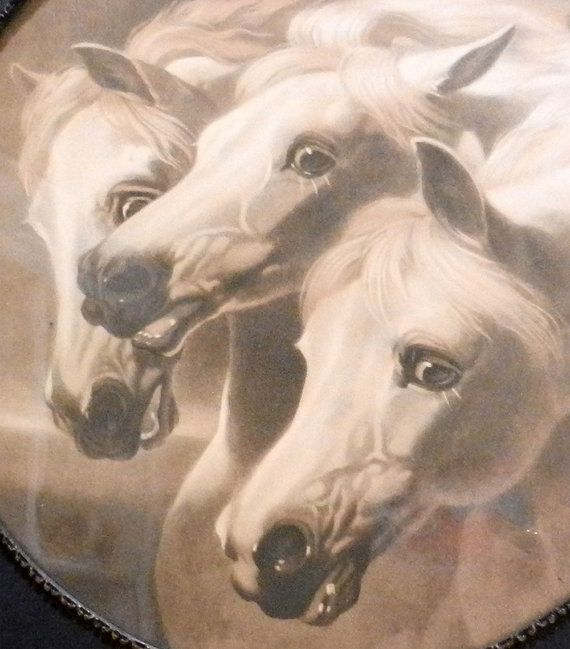 antique framed horses picture