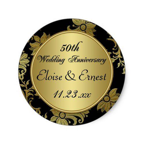 Exceptional Black, Gold 50th Wedding Anniversary Sticker