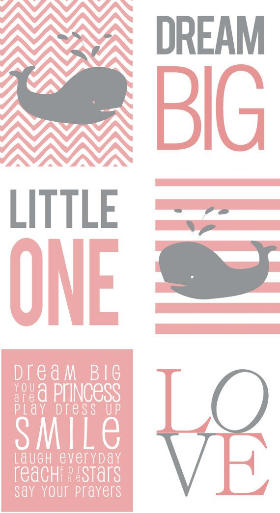 Printed Animal Wall Art for Nursery Baby Girl & by TwoFishPrints