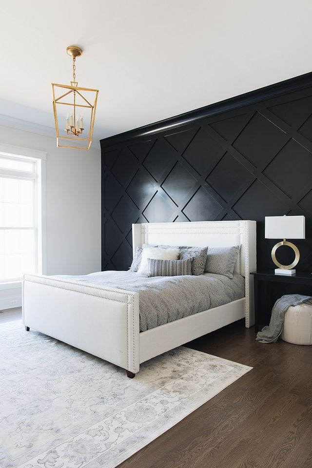 Benjamin Moore Black Black Diamond Accent Wall Paneling Painted In Benjamin Moore Black Paint Color Benjamin Townhouse Designs Bedroom Design Bedroom Interior