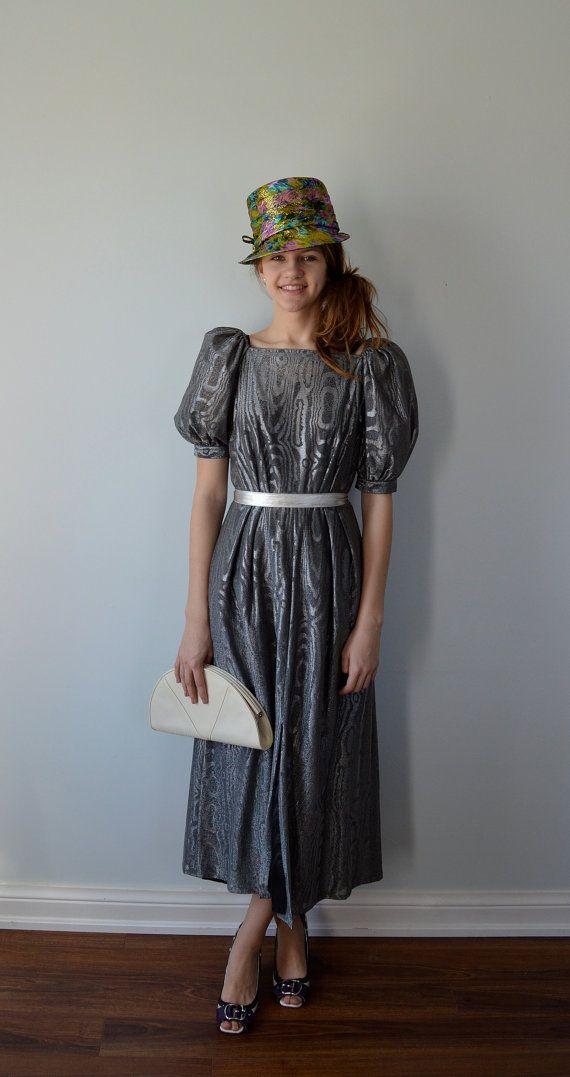 1960 Titre Vintage originale robe métallique argent par MadMakCloset