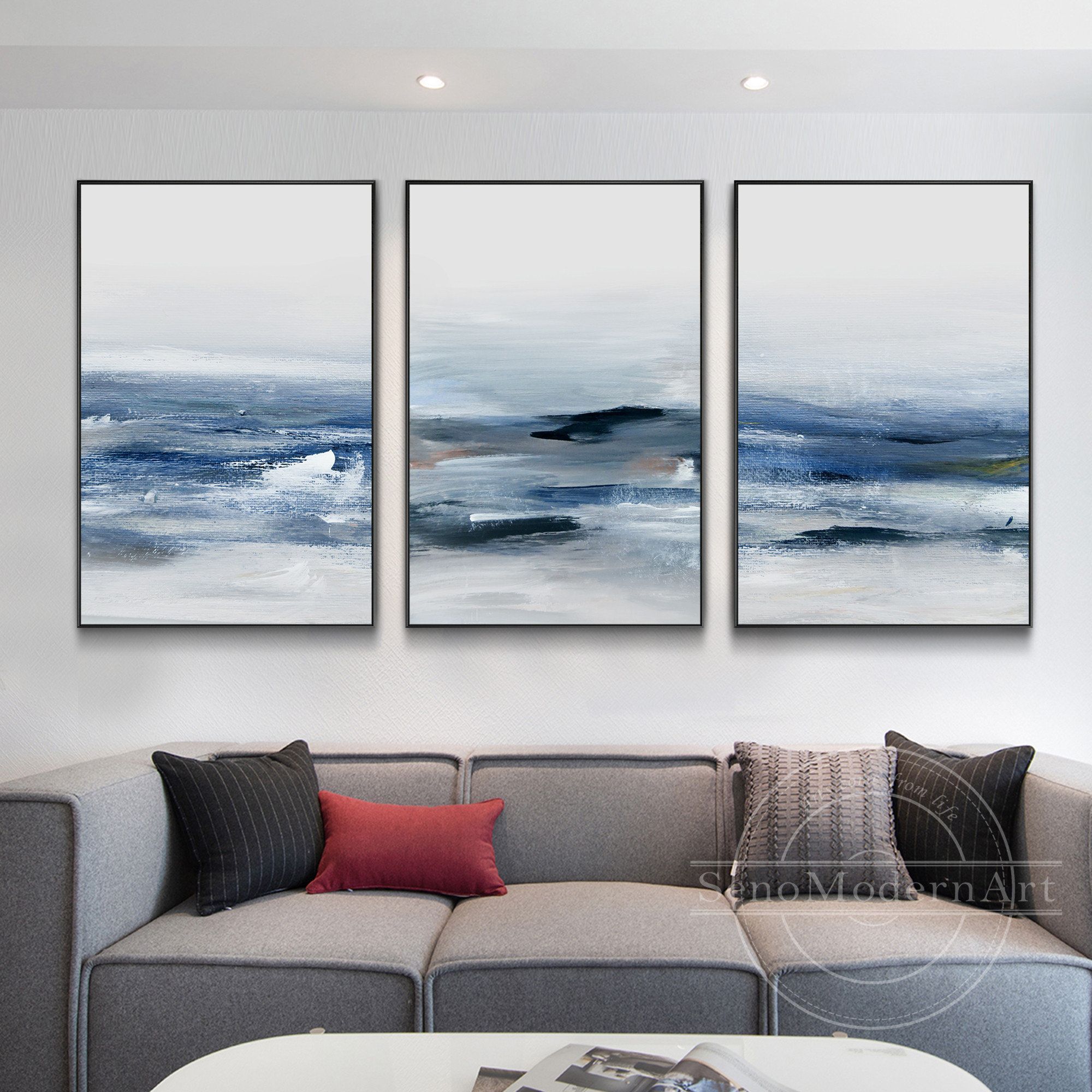 Set Of 3 Frame Wall Art Abstract Navy Blue White Seascape Etsy In 2021 Frames On Wall Framed Wall Art Sets Framed Wall Art