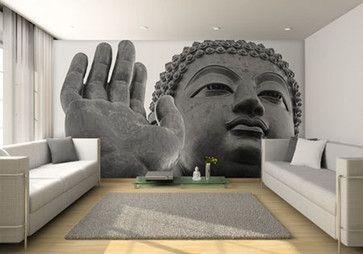 Buddha Mural Wall Contemporary Living Room Zedjafri Buddha Murals House Design Decor House Design Photos