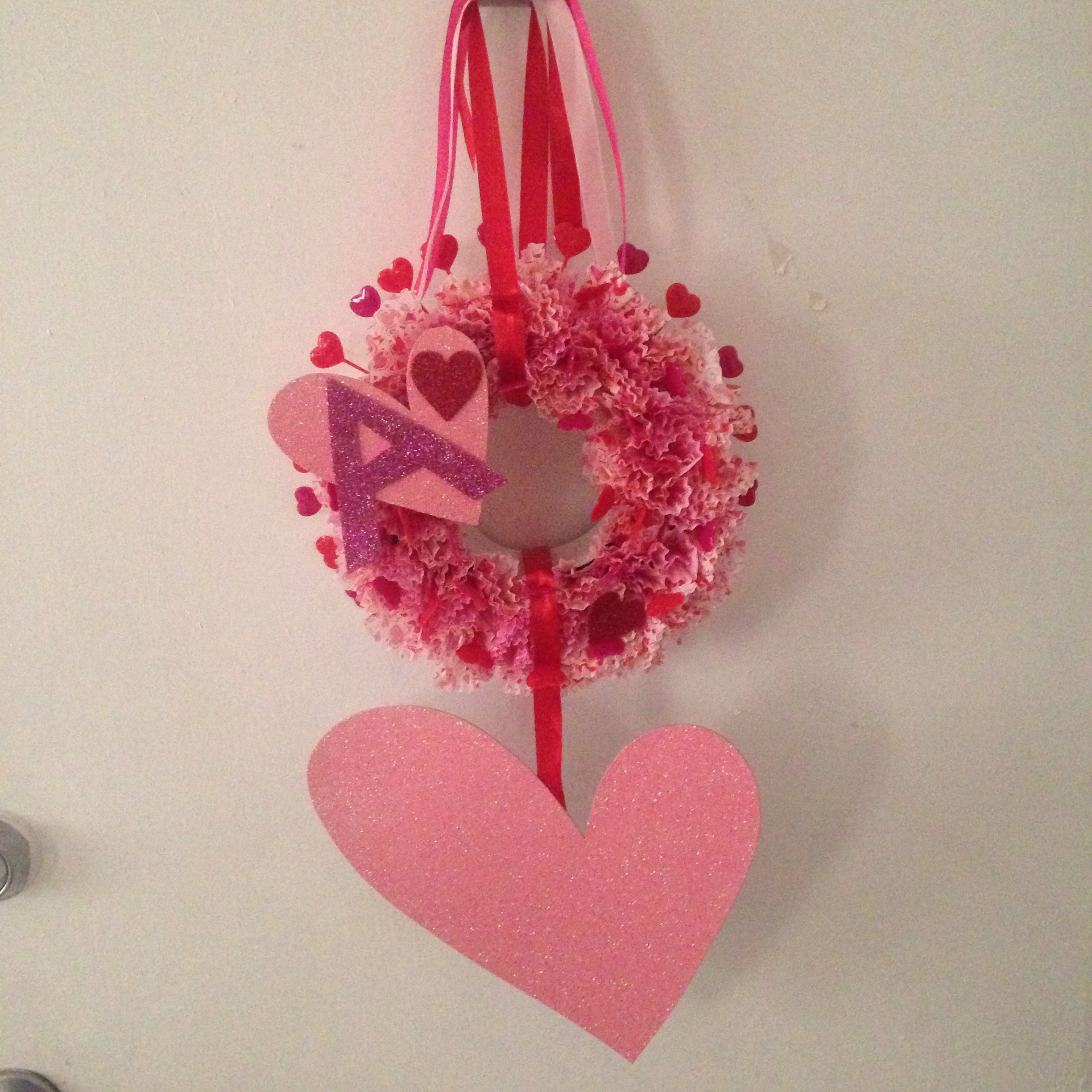 Valentines wreath made from dollar store accessories only $5