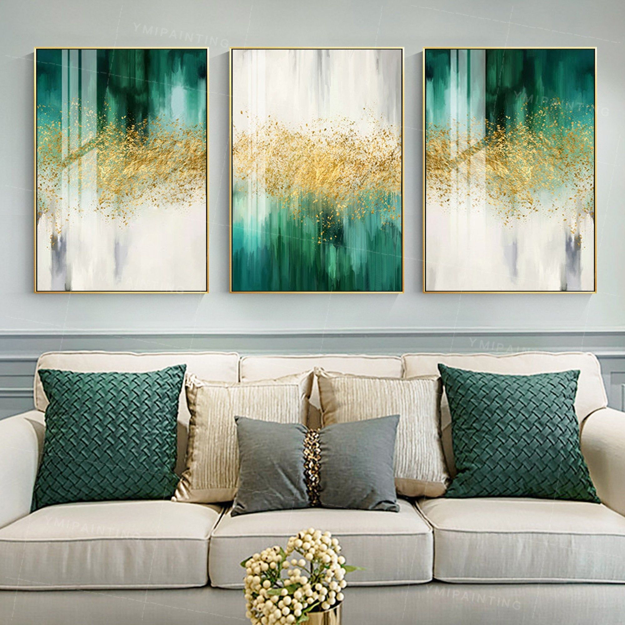 3 Piece Wall Art Gold Art Emerald Green Decor Framed Painting Etsy Green Paintings Green Canvas Art Abstract Art Painting