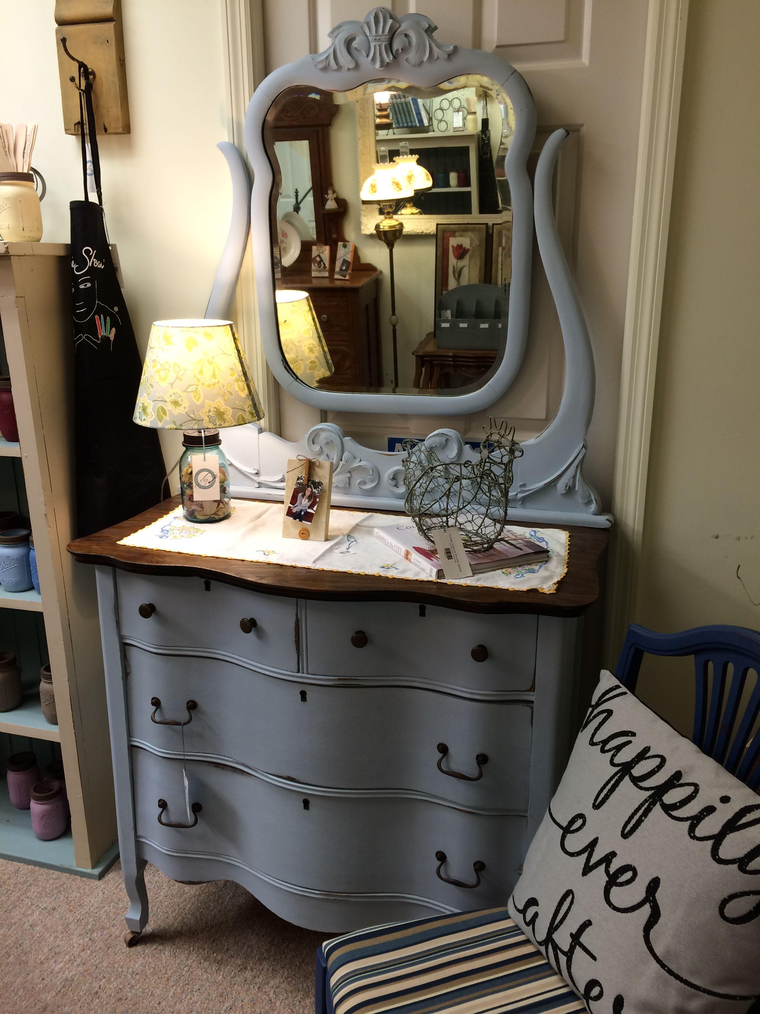 White Chalk Paint Dresser With Mirror