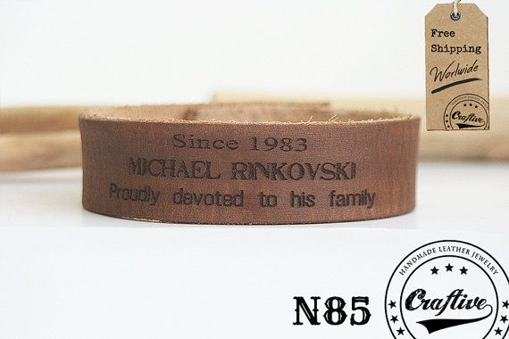 Genuine handmade leather bracelet.  -This leather band is about 0.8'' /2 cm wide.  - Please send me the text you would like to engrave and the number of rows it should be i... #jewelry #bracelet #craftiveleather