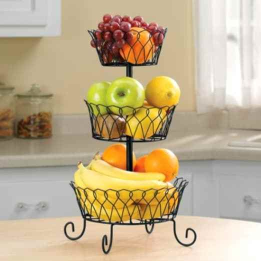 3 Tier Fruit Basket Bowl Holder Stand Kitchen Storage Organizer Wire Black Home Carolwrightgif Tiered Fruit Basket Wire Fruit Basket Kitchen Vegetable Storage