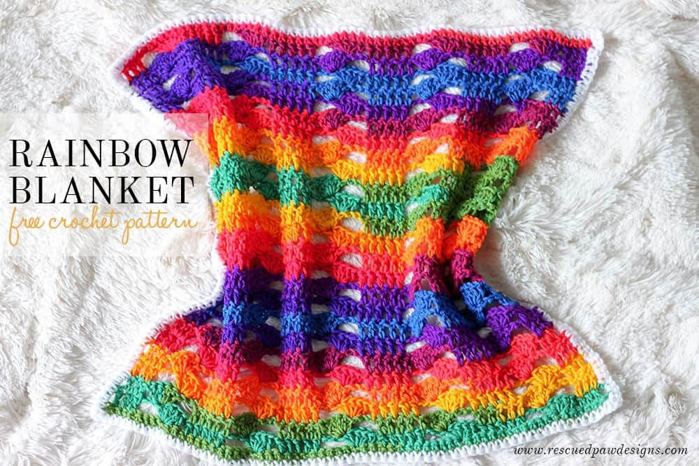 Crochet a Rainbow Blanket with this absolutely FREE pattern ...