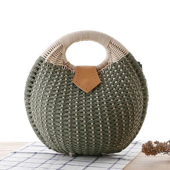 Straw Bag, Straw Handbag, Top Handles Bag, Thai Weaving Waterhyacinth,Medium straw bag, Straw market tote, Picnic basket, Straw handbag