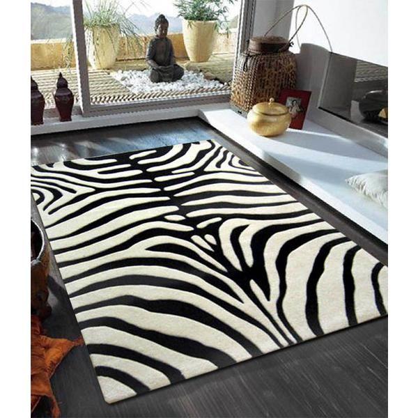 Trendy Zebra Pattern Rug Black Off White 165x115cm Modern Great Gifts At Deals