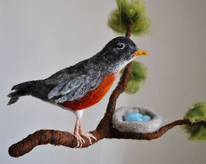 This is a Waldorf inspired piece made of wool by the needle-felting technique. Its been created to provide a peaceful and harmonious image that communicates with the soul through its colors, textures, forms and energy.   Dimensions: Branch 1X411in approx. bird: 5.5 in approx.   SHIPPING: Since shop-home is located in Montréal, contact the shop owner for more accurate delivery-time and shipping-costs.  Note: it is not a toy.
