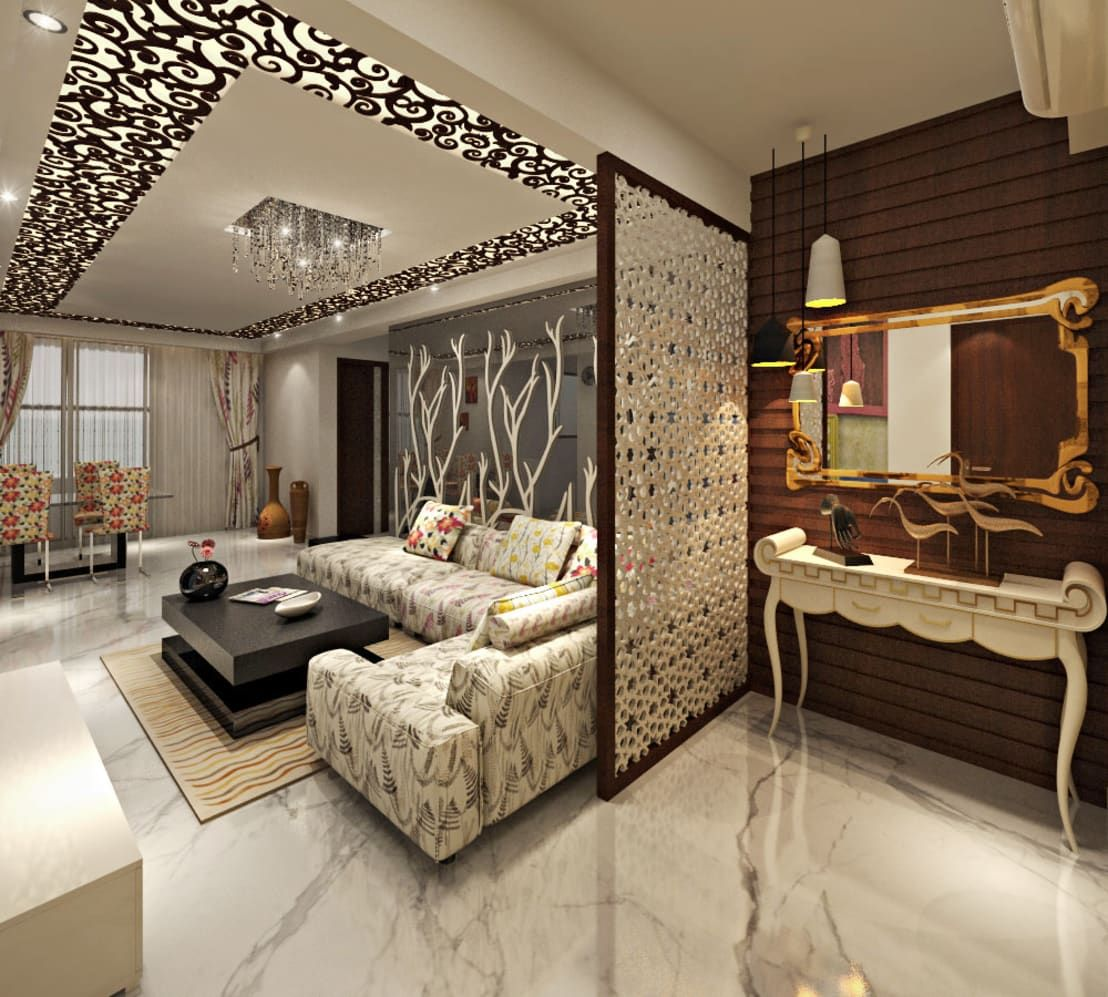3bhk Flat Interior Design And Decorate At Alwar By Design Consultant Homify Ceiling Design Living Room Room Partition Designs Living Room Partition Design