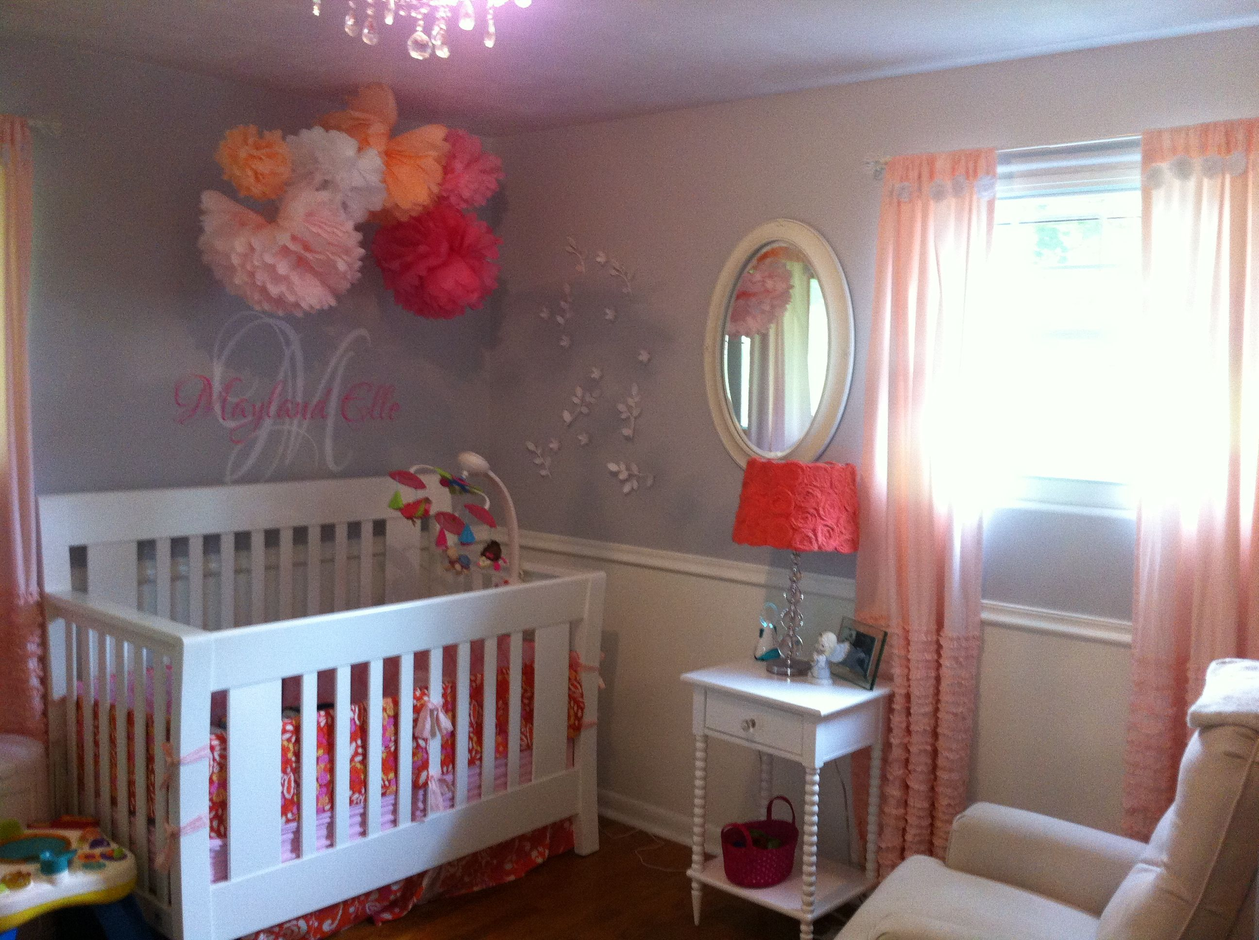 baby girl nursery pink grey white pink and coral future home pinterest pink grey nursery. Black Bedroom Furniture Sets. Home Design Ideas