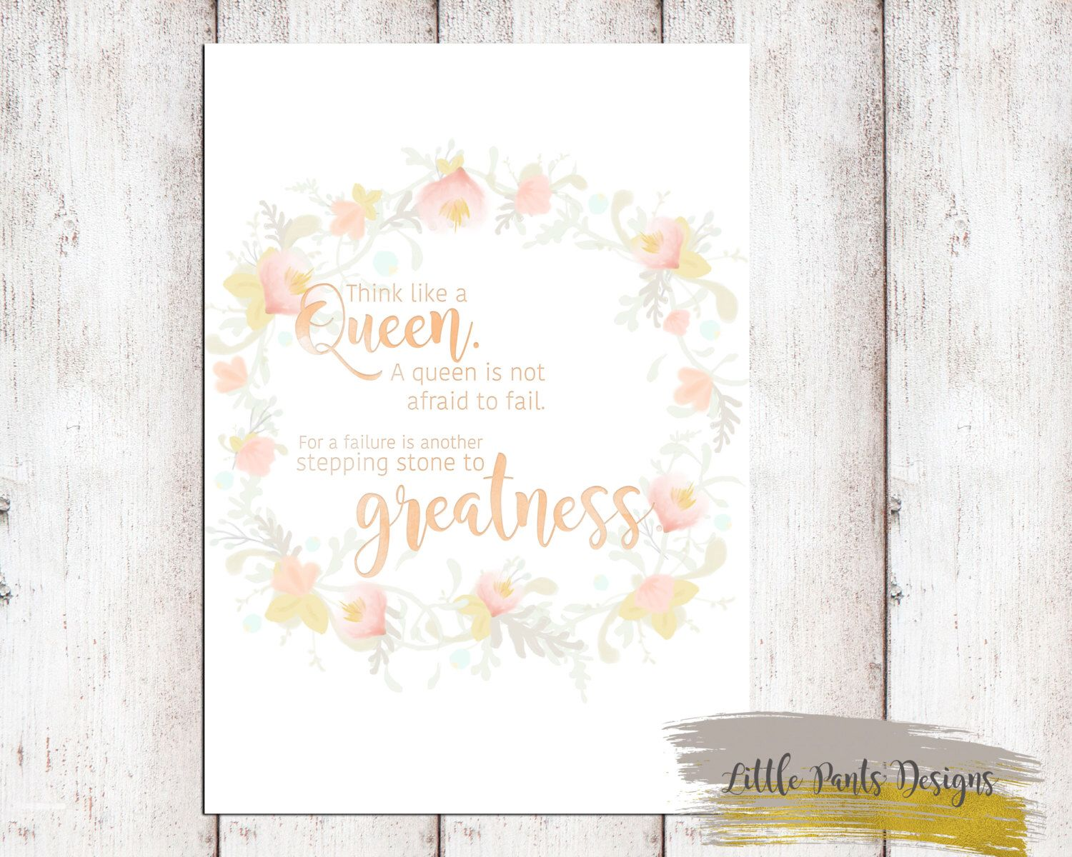 Flower crown wreath think like a queen quote poster printable flower crown wreath think like a queen quote poster printable flowers floral boho chic izmirmasajfo