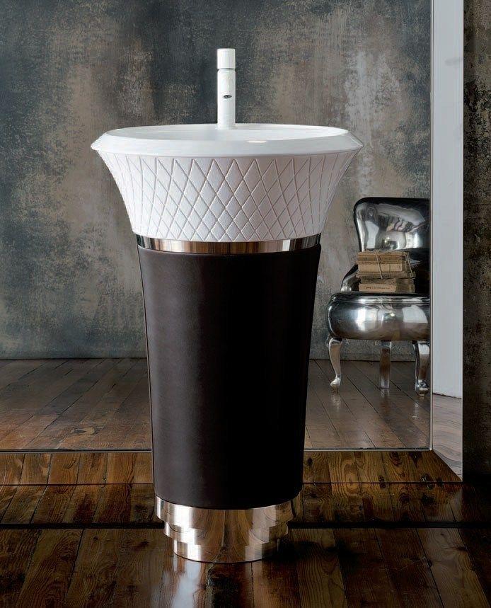 Lavabo freestanding rotondo in Ceramilux® Collezione George by