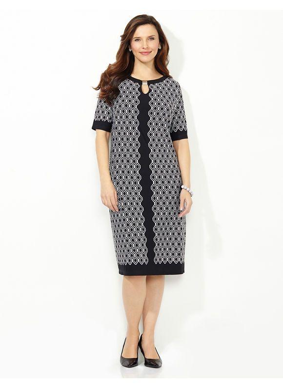 Plus Size Diamond Pane Shift Dress Catherines Womens Size 0x