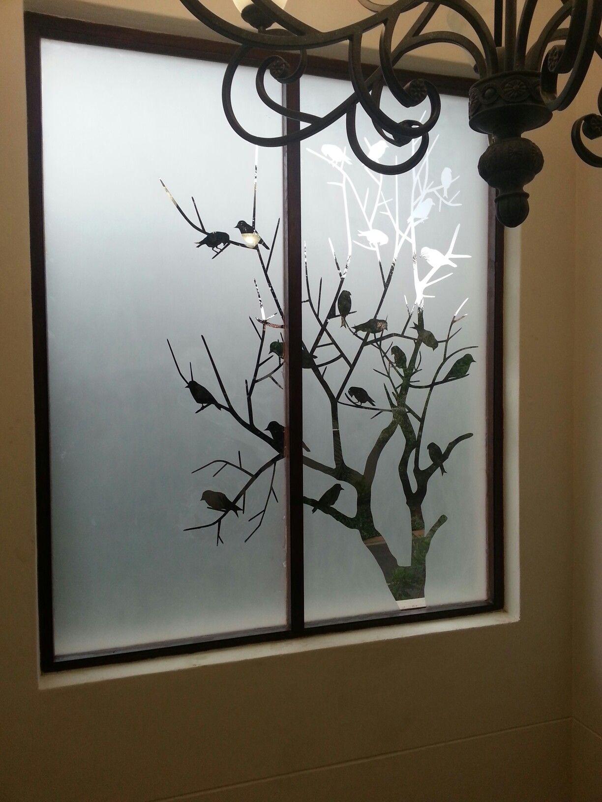 Hp sandblast birds in a tree design hp sandblast for Glass etching designs for doors