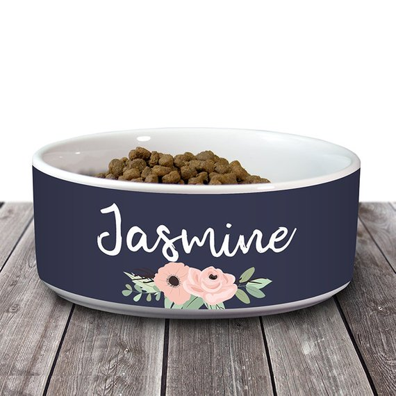Navy Floral Dog Bowl Personalized Dog Bowl Custom Name Rustic