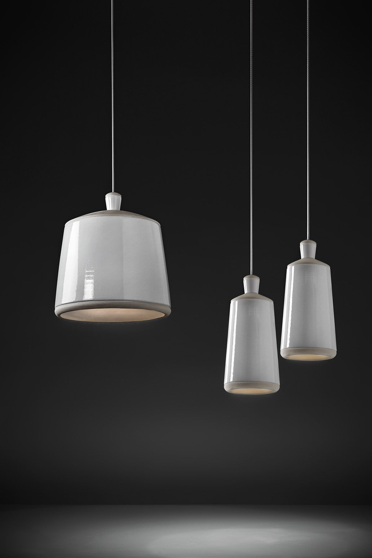 Ciocco Big and Small - Suspension - White glazed and natural clay ... for Clay Lamp Design  585hul