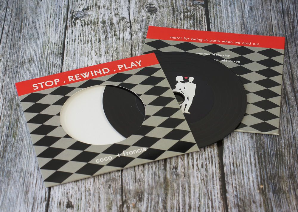 Wedding invite CDs in record-style wallets with black vinyl discs ...