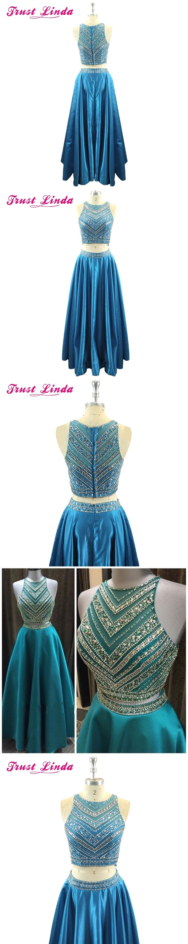 b7ec918a585 Luxury Crystal Beadings Two Pieces Prom Dresses Long Floor Length 2 Pieces  Prom Gowns Sparkly Teal