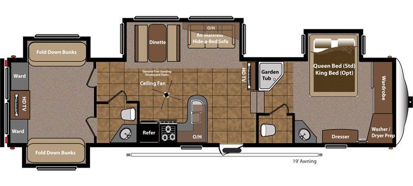 Keystone Rv Mountaineer 345dbq Floorplan Open Bath Bunkhouse
