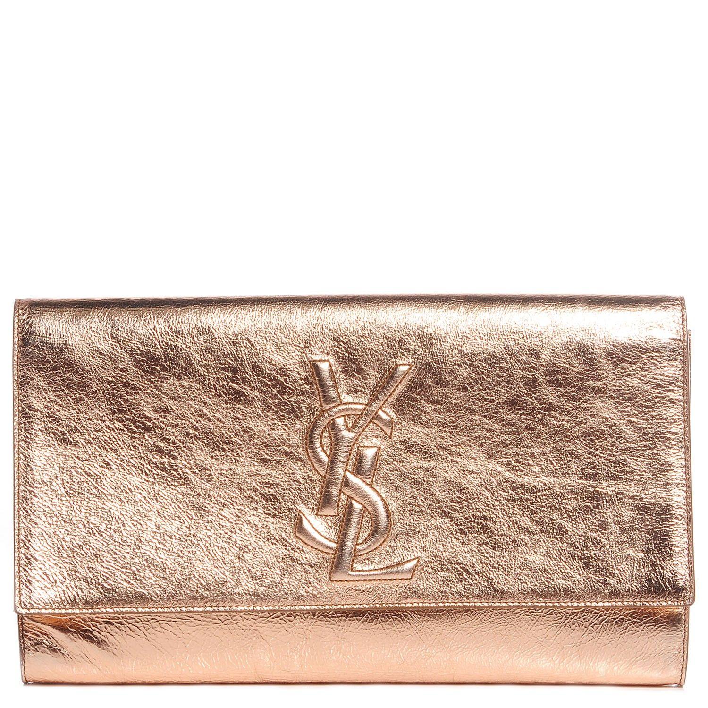 eb4a2518f7 SAINT LAURENT Metallic Leather Large Belle De Jour Clutch Rose Gold ...