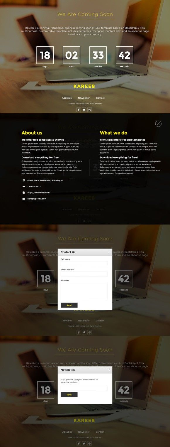 HTML Coming Soon Website Template. Bootstrap Templates. $8.00 ...