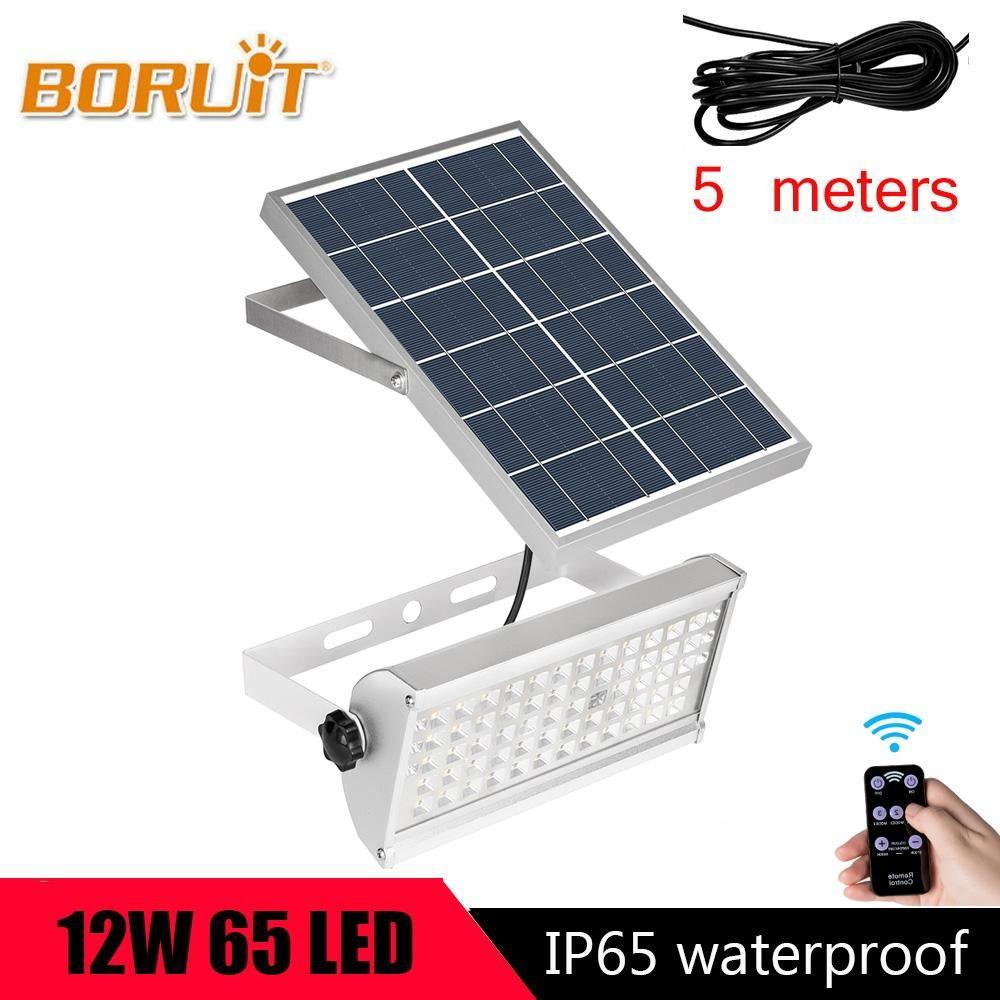 Boruit 65led Motion Sensor Solar Light 12w Outdoor Solar Spotlight